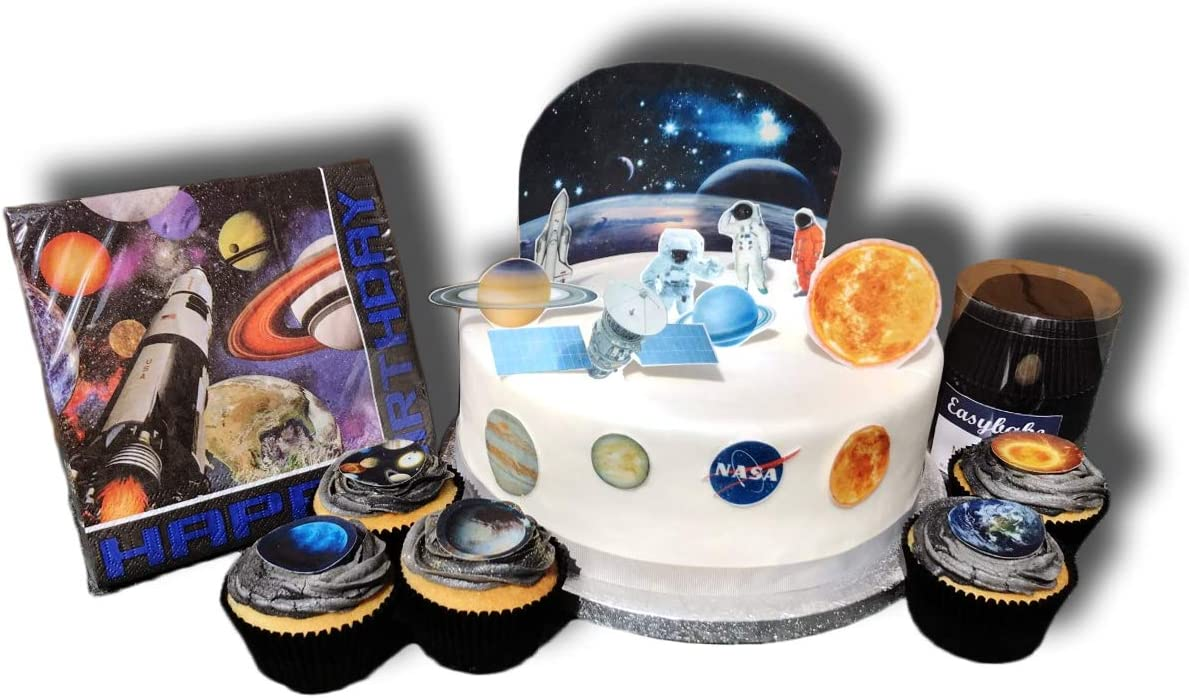 Peachy Outer Space Planets Cake Decorating Party Pack Stand Up Edible Funny Birthday Cards Online Sheoxdamsfinfo