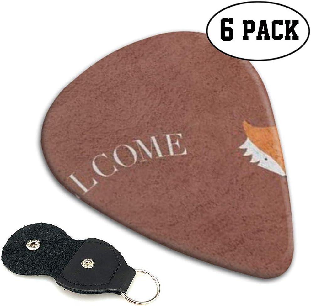 Fox Welcome Guitar Picks Leather-1 Pack Estuche para guitarra con 6 púas para guitarra .46Mm