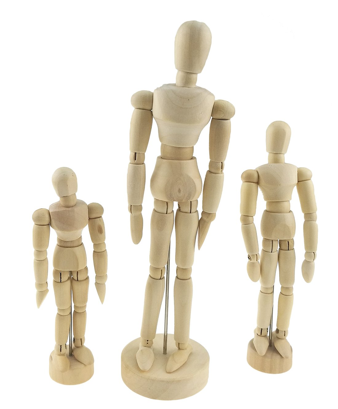 Set of 3 Wooden Pine Movable Joint Family Model For Art Mannequin Sketch Reference Home Decor(Daddy Mommy Child)