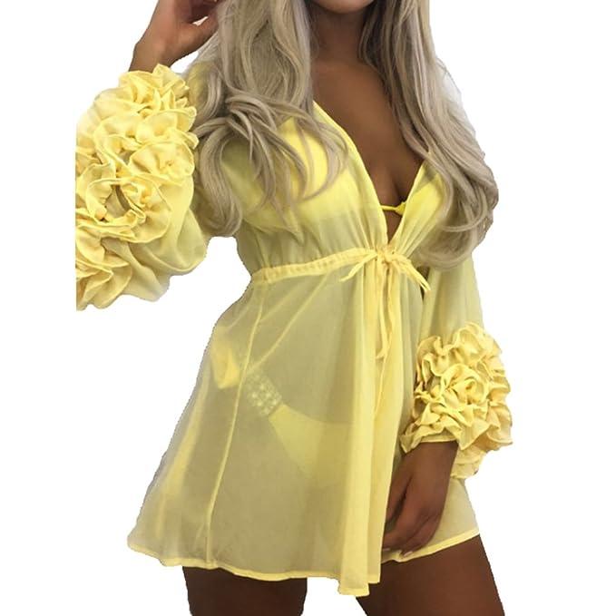 Hibote Bikini Cover up para Mujeres Mujeres Cuello V Playa Vestir Sexy Gasa Blusas Cardigan Cordón