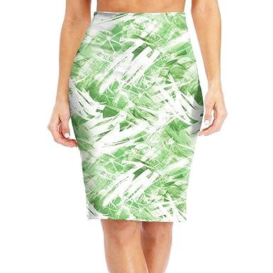 3e44b7e7e6 ZSJRH-M Women's Sexy Slim Mid Skirt Tropical Fruits Citrus Pattern High  Waist Bodycon Pencil