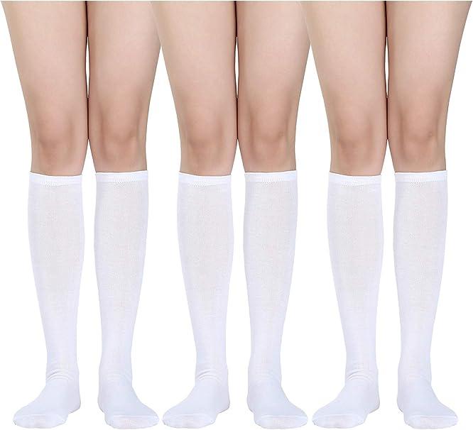 3 Pares de Calcetines Hasta la Rodilla para Mujer Calcetines de ...