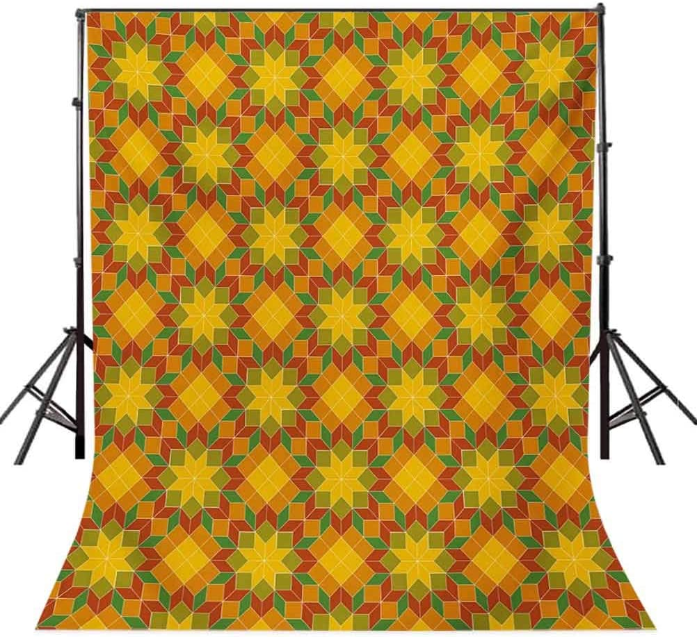 Floral 10x15 FT Photo Backdrops,Mosaic Moroccan Zellige Tile Pattern Traditional Oriental Flower Motifs Art Background for Party Home Decor Outdoorsy Theme Vinyl Shoot Props Multicolor