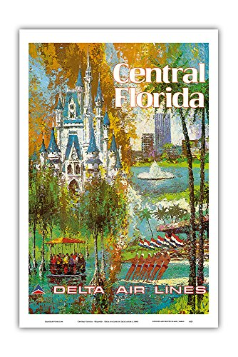 Pacifica Island Art Central Florida - Orlando - Walt Disney World Resort - Delta Air Lines - Vintage Airline Travel Poster by Jack Laycox c.1960s - Master Art Print - 12in x 18in