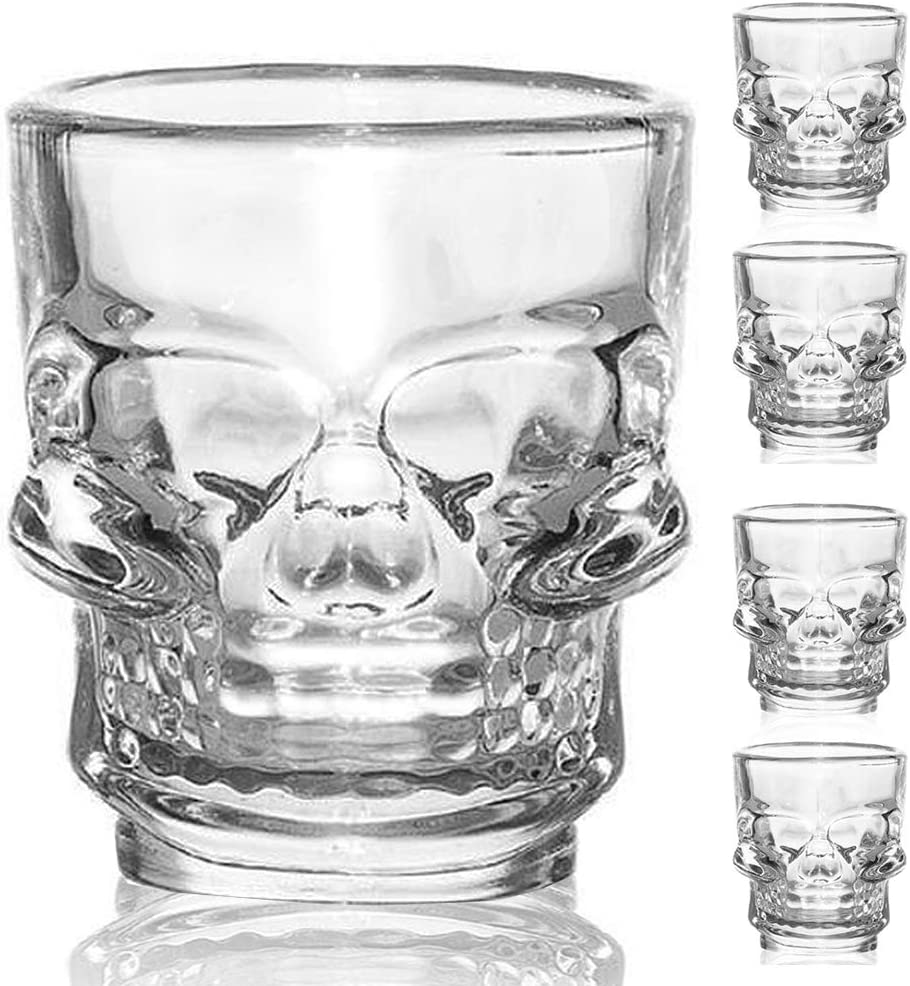 Flow Barware - Juego de 4 vasos de chupito, diseño de calavera gótica, diseño de calavera de Halloween de 25 ml / 50 ml
