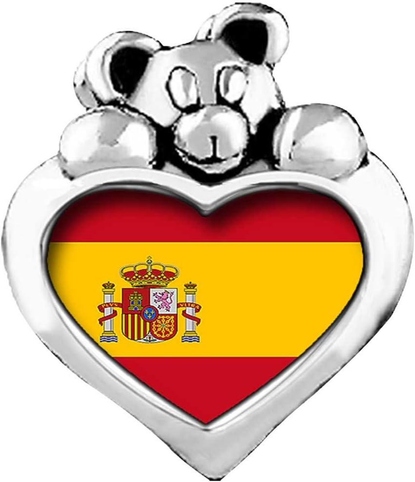 Junio de cristal amatista ligera de la bandera de España lado te amo corazón cariñosito granos del encanto pulseras: Amazon.es: Hogar