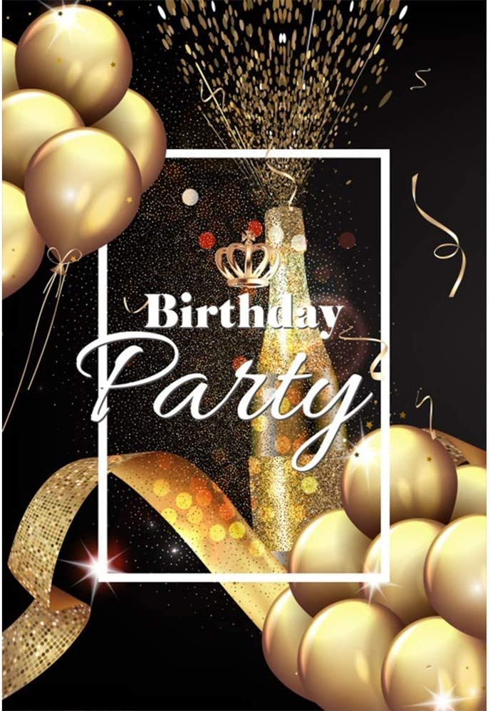 3x5ft Polyester Birthday Party Photography Background Luxurious Golden Balloon Bunches Glitter Ribbon Extrusive Champagne Backdrop Child Kids Adult Birthday Party Banner Wallpaper Studio Props