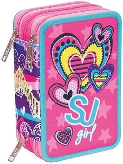 Estuche escolar triple completo SJ Gang Girl Heart rosa 3 cremalleras: Amazon.es: Oficina y papelería