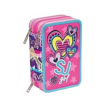 Estuche escolar triple completo SJ Gang Girl Heart rosa 3 ...