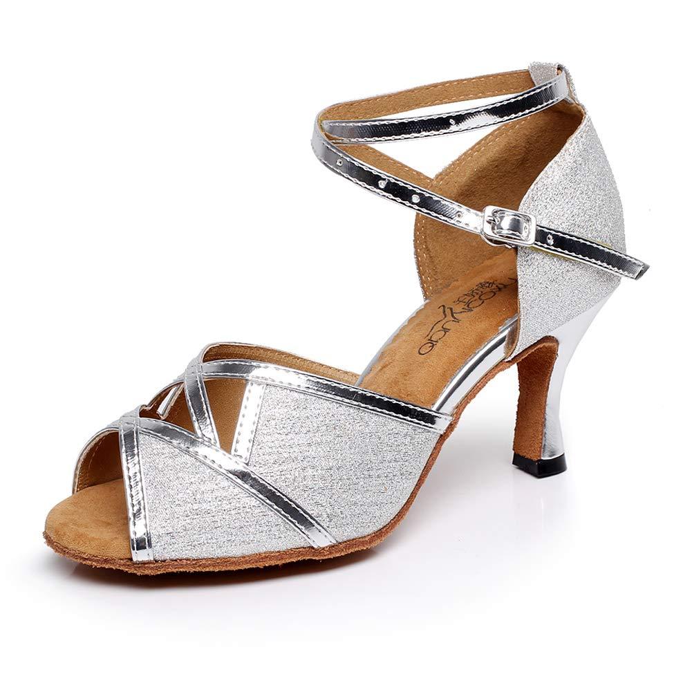 XIAOY Latein Tanzschuhe Damen Peep Toe High Heel Metallschnalle Glitter Stöckelabsatz Spitze Zehe