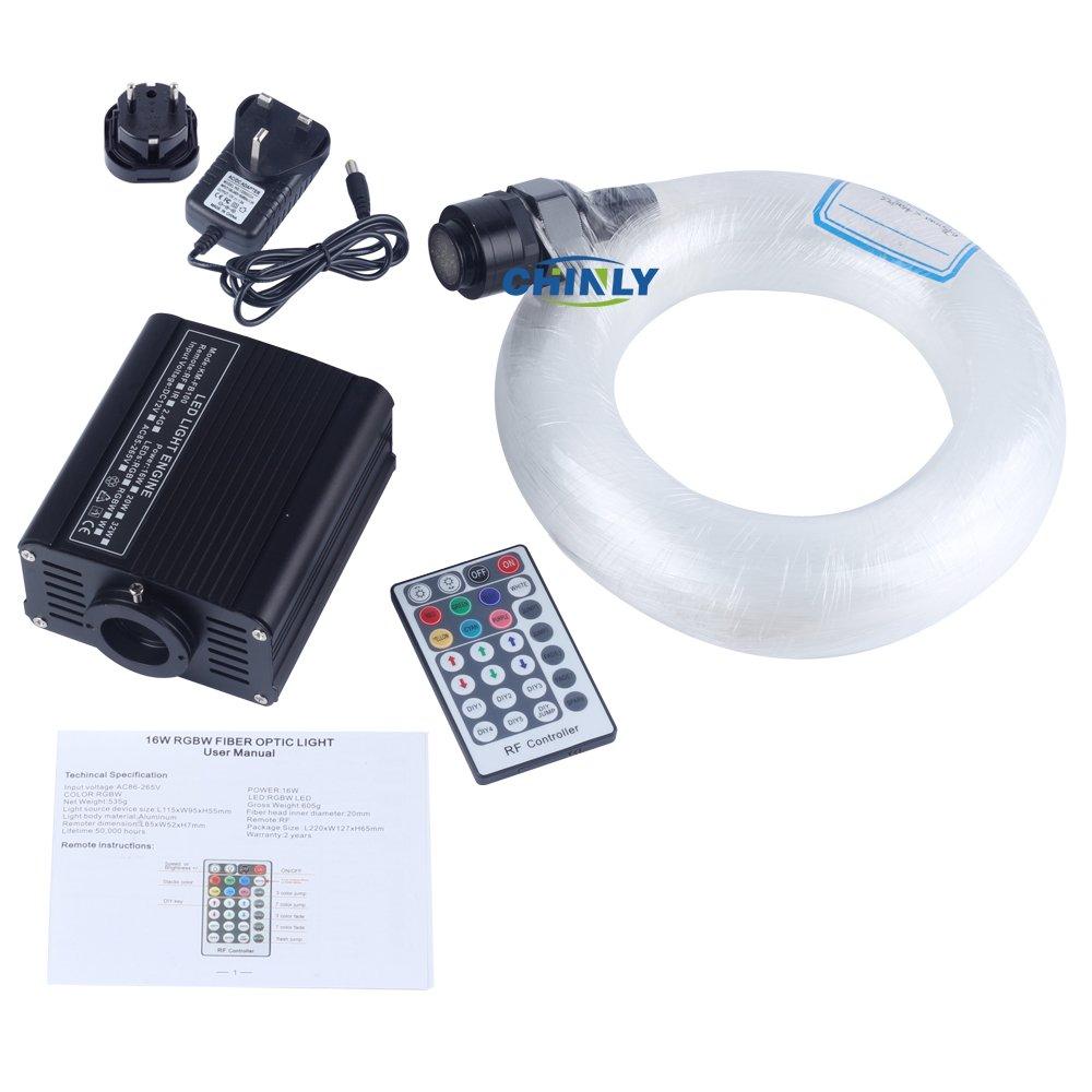 CHINLY LED Plastic Fiber Optic Star Ceiling Lights Kit 200pcs 0.75mm 6.5ft 2m optical fiber+16W RGBW Light Engine+28Key RF Remote