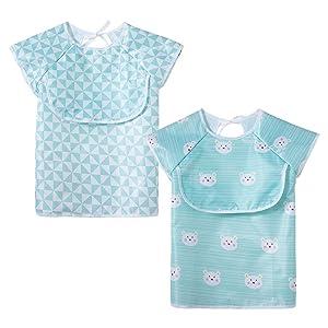 Short sleeves Bib Little Dimsum Waterproof Feeding Bibs Apron with Top Pocket Bag for Babies/Toddlers/Infants, Pack of 2 Colors,blue