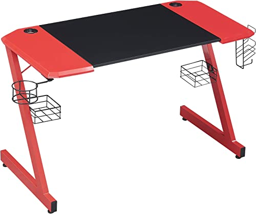 HOMYSHOPY Gaming Computer Desks, 48 inch Z-Shaped Gaming Desk with Cup Holder, Game Controller Stand, Headphone Hook and Speaker Storage Red and Black