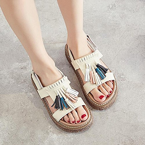 Sandals CJC Womens Platform Strappy Chunky Wedge Flatform Heel Peep Toe Casual Shoes 3-5cm 1 v1fD2Ubsu