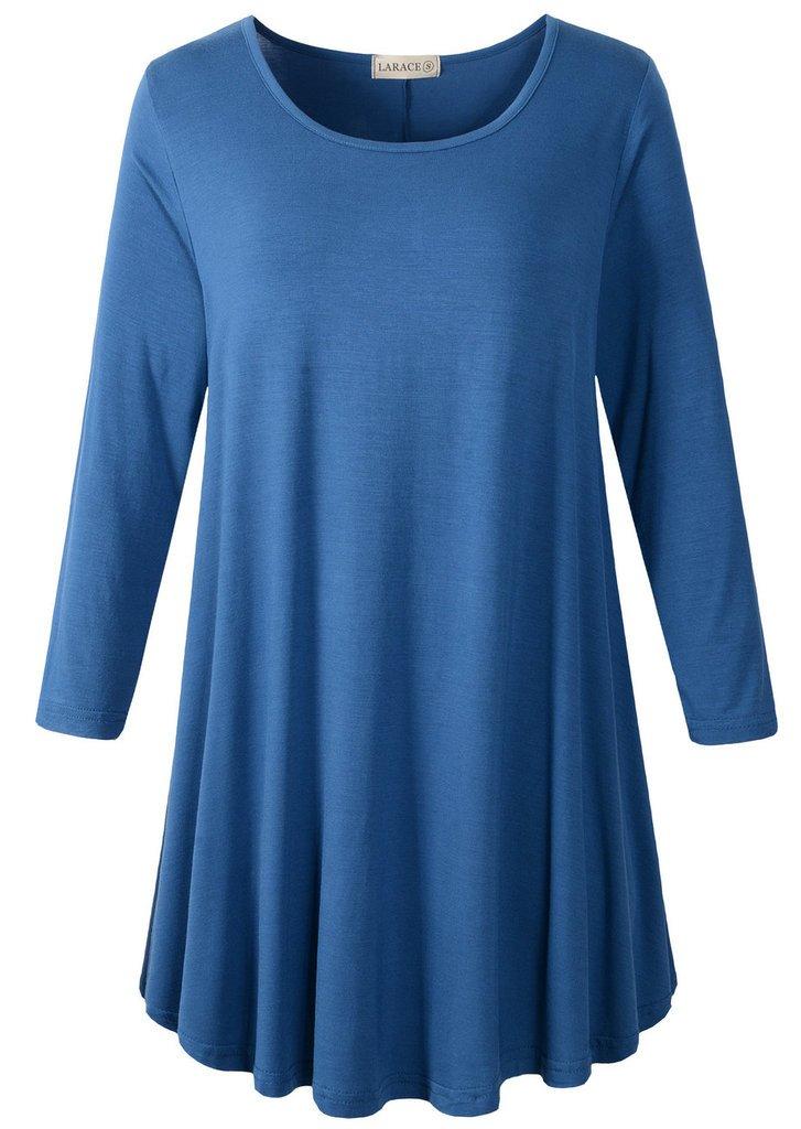 LARACE Women 3/4 Sleeve Tunic Top Loose Fit Flare T-Shirt(2X, Steel Blue)