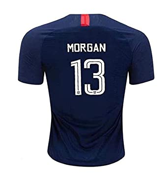 a07c8b76415 Morgan #13 USA National Alex 2018-2019 Womens Away Football Soccer T-Shirt