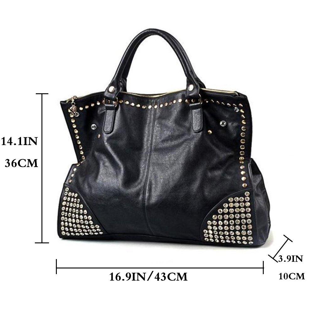c30003ab215c FiveloveTwo Women Top Handle Shoulder Bag Personality Punk Rivet Satchel  Tote Purse Fashion Vintage Big Bag Black