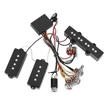 Alomejor Captación de cableado de Bajos, Pastilla de Circuito de cableado de preamplificador de Bajos eléctricos y reemplazo de Instrumento Musical de línea ...