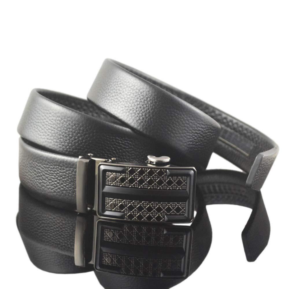 DENGDAI Automatic Buckle Belt Belt Leather Belt Mens Leather Belt Length 110-130cm