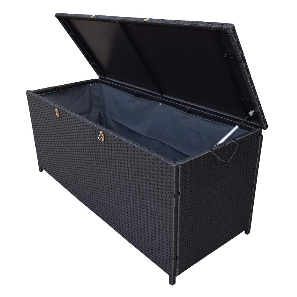 Oakland Living AZ58-STORAGE-BK Wicker Outdoor Storage Box, Black