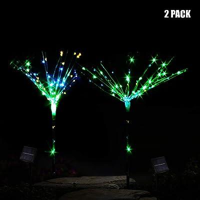 CST Lighting 2 Pack 100-LEDs DIY Shape Fireworks Tree Solar Lawn Light Pathway Garden Lamp (Multicolour-FT) : Garden & Outdoor