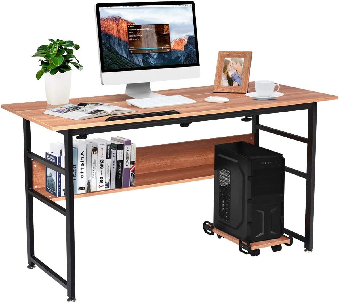 Tangkula 55 Computer Desk, Drafting Desk w Storage Shelf CPU Stand, Craft Workstation w Tiltable Desktop for Artist, Home Office Desk Walnut