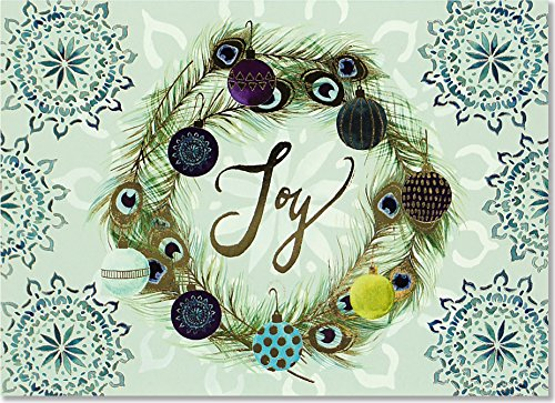 Deluxe Wreath - Peacock Wreath Deluxe Boxed Holiday Cards (Christmas Cards, Greeting Cards)
