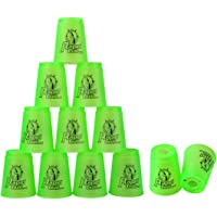 Quick Stack Cups, 12 Pack Stacking Cups Classic Stack Speed Training Game Toys for Boys Girls Kids Teenagers (Green)