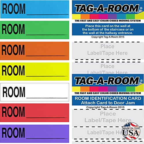 (Tag-A-Room Color Coded Home Moving Box Labels Blank Customizable with Door IDs, 350 Count Moving Stickers, Moving Supplies)