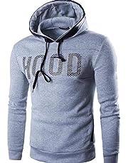 FSSE Mens Letter Print Hooded Slim Fit Fall & Winter Long Sleeve Sweatshirt Pullover