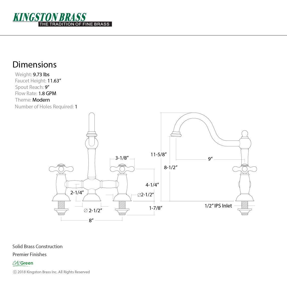 Kingston Brass KS3788AX Restoration 8-Inch Kitchen Faucet without Sprayer Brushed Nickel