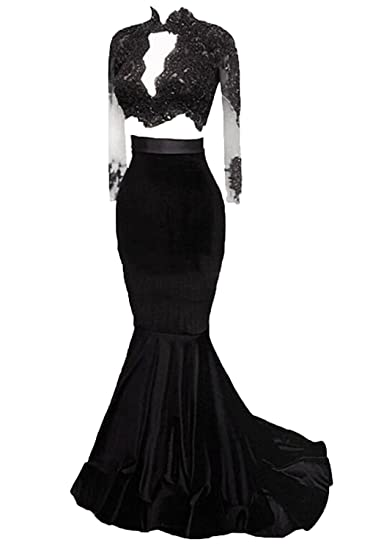 Allenqueen Women s Sexy Mermaid Prom Dress with Long Sleeve Illusion  Backless Evening Gown Black US2 4c8099c69