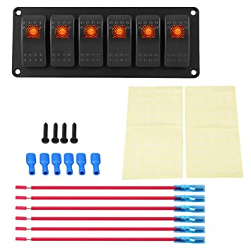 Orange LED Light Bar Switch Panel Waterproof Professional Design for Car RV Boat Yacht Marine Easy Installation Keenso 12-24V 6 Gang Rocker Switch Panel