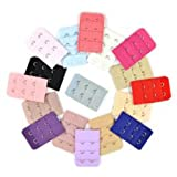 17 pcs Assorted Colors Women 2-Hook 3 Rows Spacing Bra Extender Strap