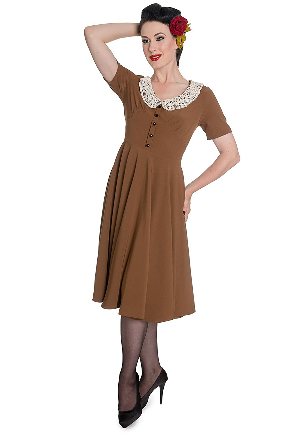 1940s Style Dresses and Clothing 30 40s Hell Bunny Juliana Retro Rockabilly Landgirl Dress $34.99 AT vintagedancer.com
