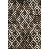 Safavieh TUN293B-3 Tunisia Collection and Crème Area Rug, 3′ x 5′, Brown For Sale
