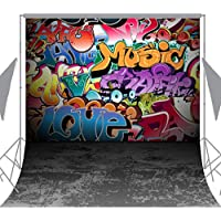 OUYIDA 8X8FT Wall Graffiti Style Pictorial Cloth Photography Background Computer-Printed Vinyl Backdrop TG01C