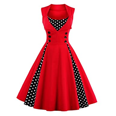 CharMma Womens Retro Polka Dot Midi Prom Dress(Red ...