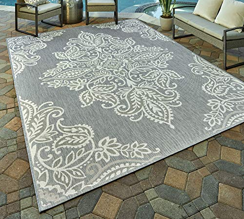 Gertmenian 21488 Coastal Tropical Carpet Outdoor Patio Rug, 5x7 Standard, Gray Center Medallion (Rugs Area 5x8 Tropical)