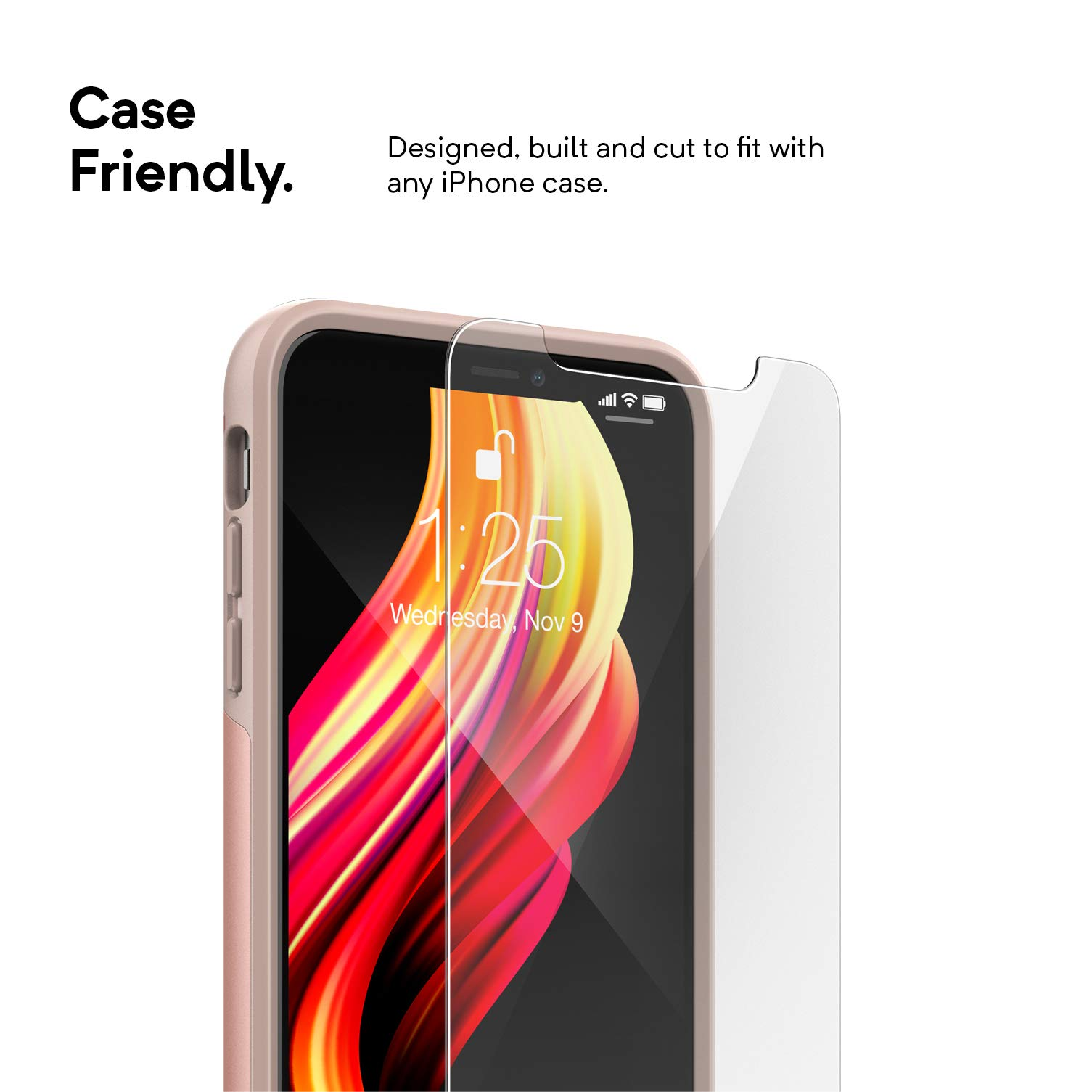 on sale 138c9 436d0 Caseology Screen Protector for iPhone Xs Max Tempered Glass (2018 ...