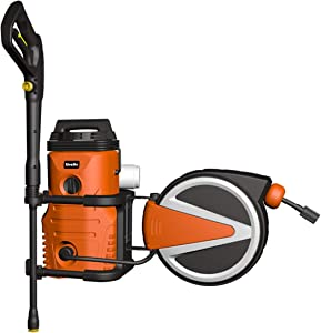 Giraffe Power Washers & Retactable Hose Reel 2 in 1 Wall Mount Electric Pressure Washers 10 AMP 1600 PSI 1.28 GPM with Detergent Tank Spray Gun Storage