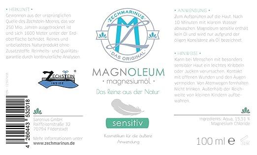 Magnesio Oil Spray Sensitiv ZECH piedra magnoleum 100 ml cristal de pulverizador - magnoleum de Sole para piel sensible y exigentes Cloruro de magnesio ...
