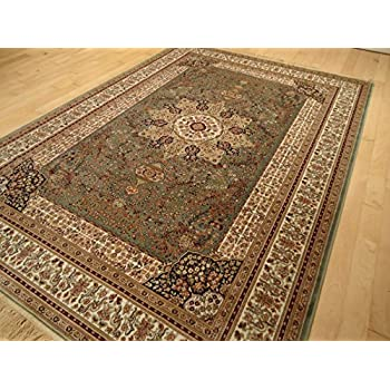 Luxury silk rug ivory rug living room cream for Dining room rugs 5x7