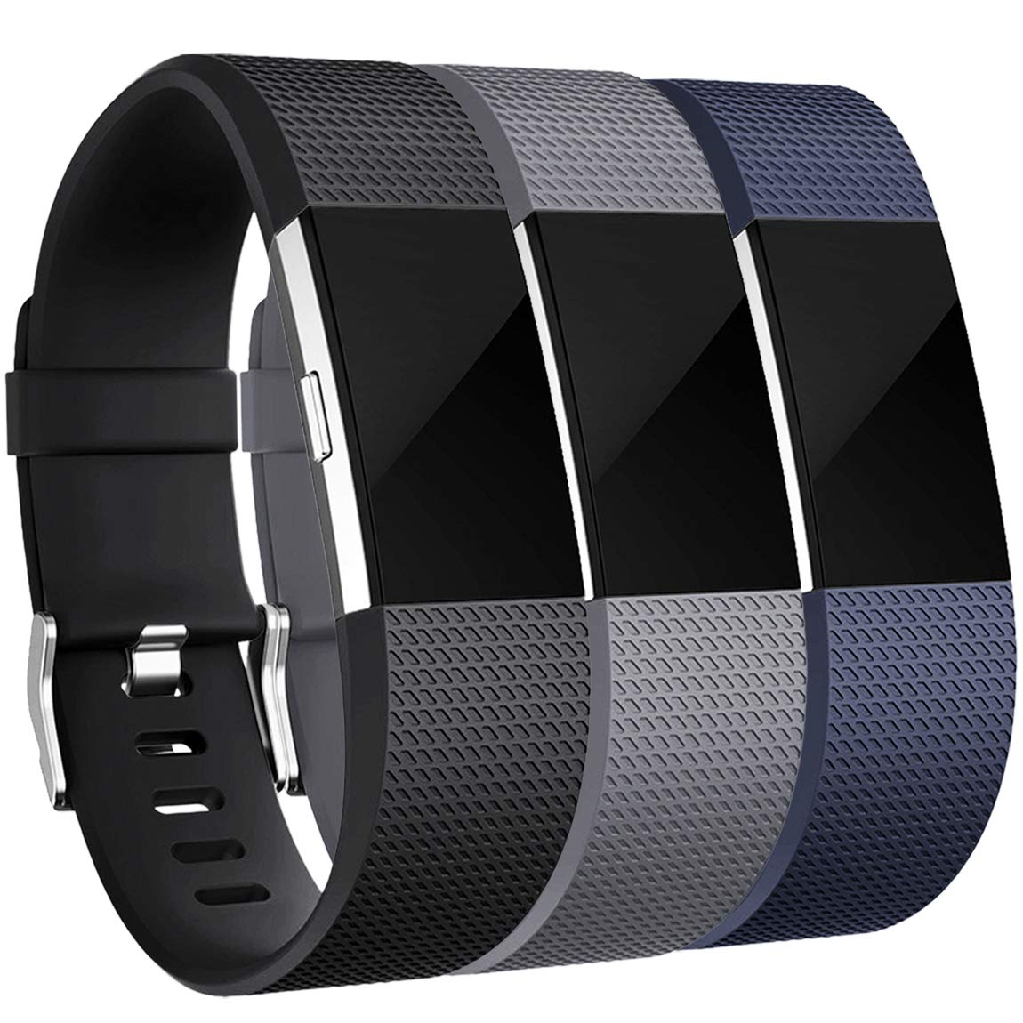 Maledan Bands Replacement Compatible with Fitbit Charge 2, 3-Pack, Small Gray/Blue/Black