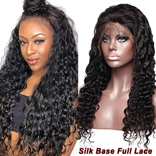 Glueless Deep Wave Curly Silk Top Full Lace Wig 100% Brazilian Human Hair 4x4