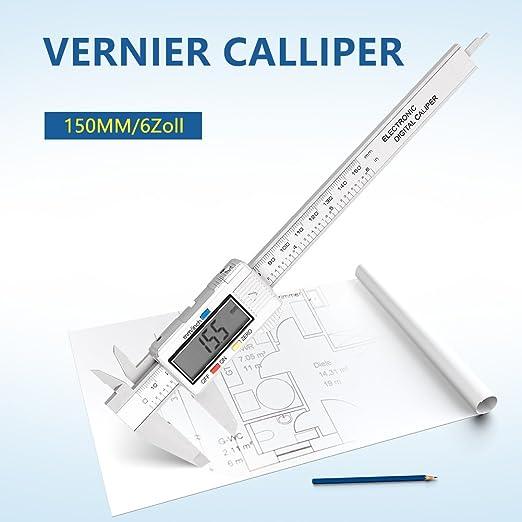 Pie de Rey Digital Pantalla Electr/ónica LCD de Acero Inoxidable 150mm//6pulgadas para Medir Interior//Exterior//Altura//Profundidad Calibre Digital Profesional