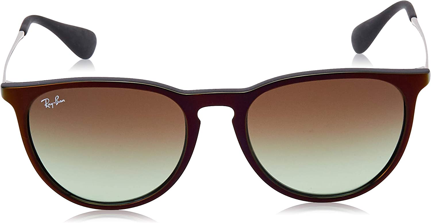 Ray-Ban Women's RB4171 Erika Round Sunglasses, Dark Rubber Tortoise/Brown Gradient, 54 mm: Ray Ban: Shoes