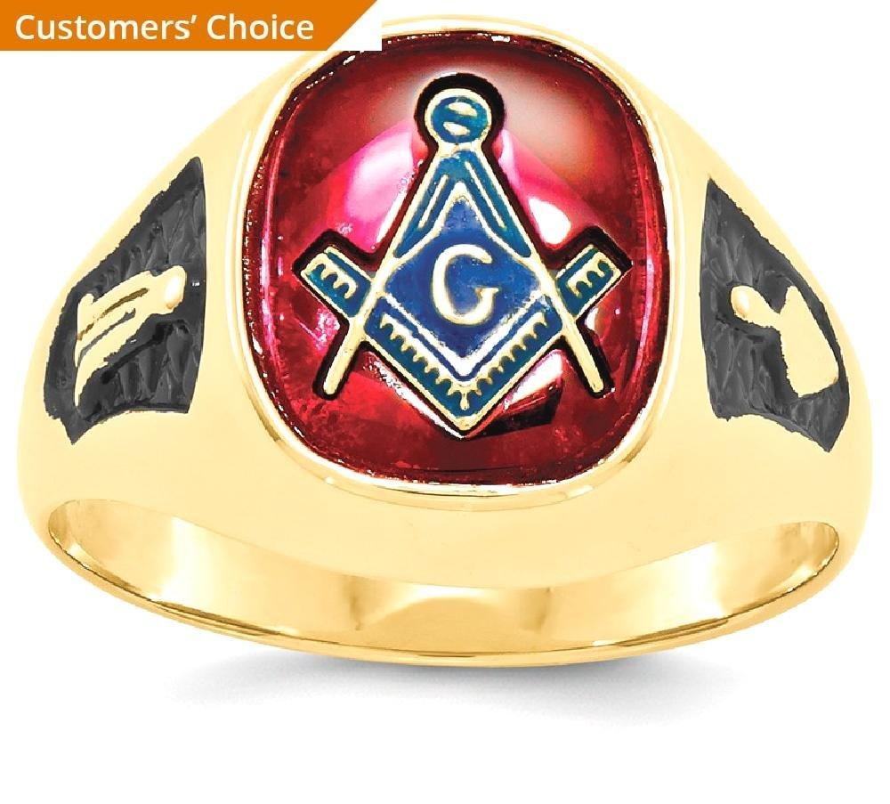 ICE CARATS 14k Yellow Gold Mens Synthetic Red Ruby Masonic Freemason Mason Band Ring Size 10.00 Man Fine Jewelry Dad Mens Gift Set by ICE CARATS (Image #2)