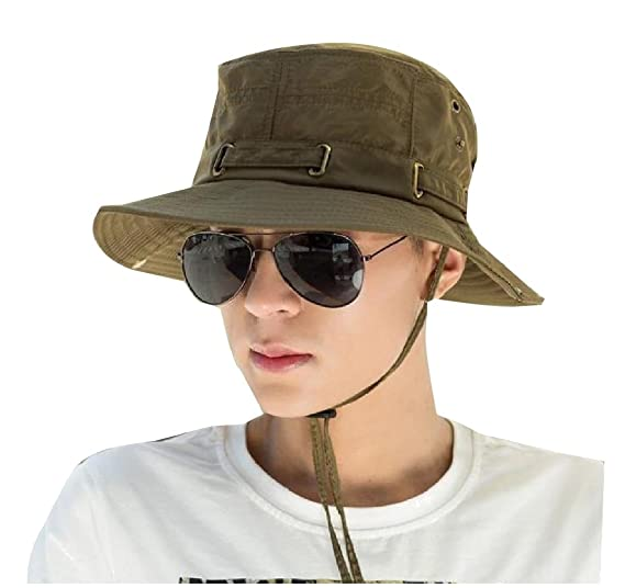 903930dcedf70 Coolred-Men Simple Outdoor Bush Hat Pure Color Chin Straps Sun Hats Army  Green OS