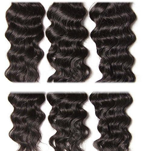 Longqi 7a Unprocessed Virgin Hair Brazilian Natural Wave Bundles Pack of 3 Cheap Wavy Human Hair Bundles Deal (18 20 22inch, Natural Color) by Dinoce (Image #3)